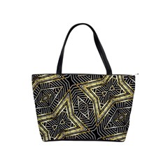 Geometric Tribal Golden Pattern Print Large Shoulder Bag by dflcprints