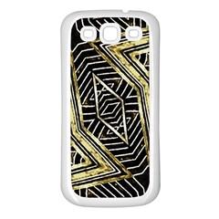 Geometric Tribal Golden Pattern Print Samsung Galaxy S3 Back Case (white) by dflcprints