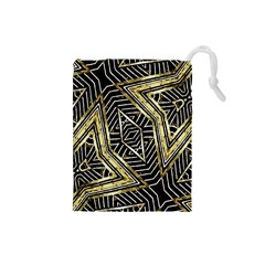 Geometric Tribal Golden Pattern Print Drawstring Pouch (small)