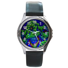 Abstract 1x Round Leather Watch (silver Rim) by icarusismartdesigns