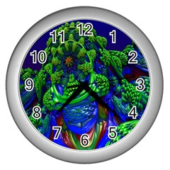 Abstract 1x Wall Clock (silver) by icarusismartdesigns