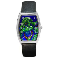Abstract 1x Tonneau Leather Watch by icarusismartdesigns