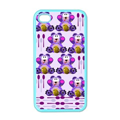 Fms Honey Bear With Spoons Apple Iphone 4 Case (color) by FunWithFibro