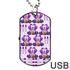 Fms Honey Bear With Spoons Dog Tag Usb Flash (two Sides) by FunWithFibro