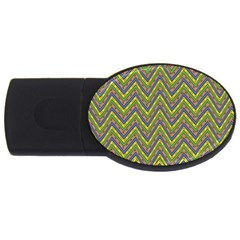 Zig Zag Pattern Usb Flash Drive Oval (4 Gb) by LalyLauraFLM
