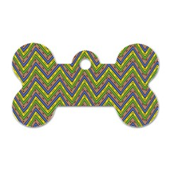 Zig Zag Pattern Dog Tag Bone (two Sides) by LalyLauraFLM