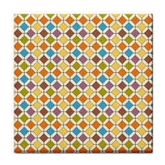 Colorful Rhombus Pattern Tile Coaster by LalyLauraFLM
