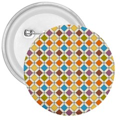 Colorful Rhombus Pattern 3  Button by LalyLauraFLM