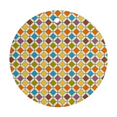Colorful Rhombus Pattern Ornament (round) by LalyLauraFLM