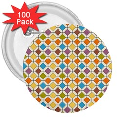 Colorful Rhombus Pattern 3  Button (100 Pack) by LalyLauraFLM