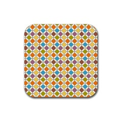 Colorful Rhombus Pattern Rubber Square Coaster (4 Pack) by LalyLauraFLM