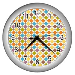 Colorful Rhombus Pattern Wall Clock (silver) by LalyLauraFLM