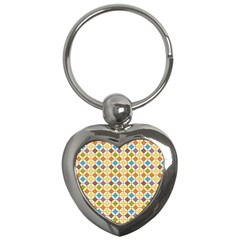 Colorful Rhombus Pattern Key Chain (heart) by LalyLauraFLM
