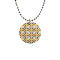 Colorful Rhombus Pattern 1  Button Necklace by LalyLauraFLM