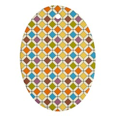 Colorful Rhombus Pattern Oval Ornament (two Sides) by LalyLauraFLM