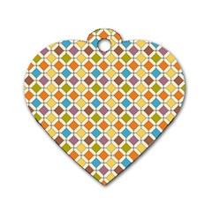 Colorful rhombus pattern Dog Tag Heart (One Side) by LalyLauraFLM