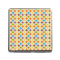 Colorful Rhombus Pattern Memory Card Reader With Storage (square) by LalyLauraFLM
