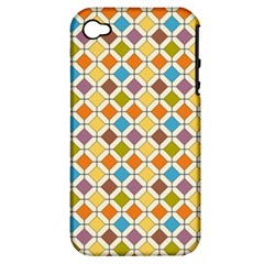 Colorful Rhombus Pattern Apple Iphone 4/4s Hardshell Case (pc+silicone) by LalyLauraFLM