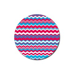 Waves pattern Rubber Round Coaster (4 pack) by LalyLauraFLM
