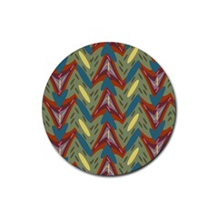 Shapes Pattern Rubber Coaster (round) by LalyLauraFLM