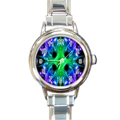 Alien Snowflake Round Italian Charm Watch by icarusismartdesigns