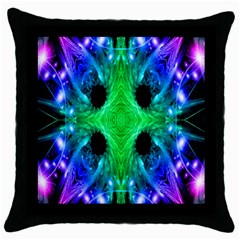 Alien Snowflake Black Throw Pillow Case by icarusismartdesigns