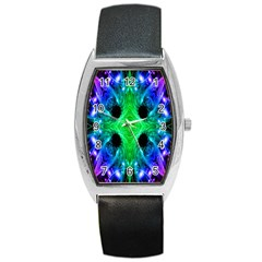 Alien Snowflake Tonneau Leather Watch by icarusismartdesigns