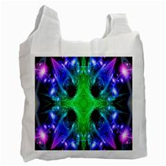 Alien Snowflake White Reusable Bag (one Side)