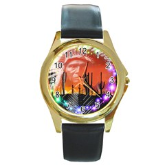Ghost Dance Round Leather Watch (gold Rim)  by icarusismartdesigns