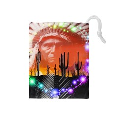 Ghost Dance Drawstring Pouch (medium) by icarusismartdesigns