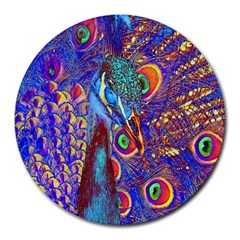 Peacock 8  Mouse Pad (round) by icarusismartdesigns