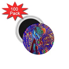 Peacock 1 75  Button Magnet (100 Pack) by icarusismartdesigns