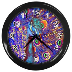 Peacock Wall Clock (black) by icarusismartdesigns