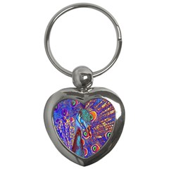 Peacock Key Chain (heart) by icarusismartdesigns