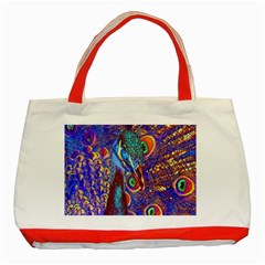 Peacock Classic Tote Bag (red) by icarusismartdesigns