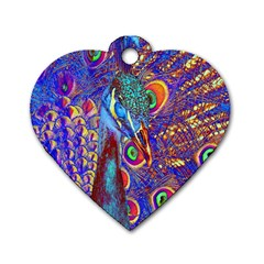 Peacock Dog Tag Heart (one Sided)  by icarusismartdesigns
