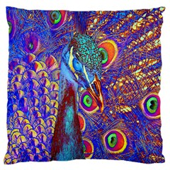 Peacock Large Cushion Case (single Sided)  by icarusismartdesigns