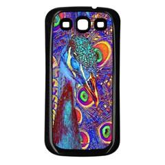 Peacock Samsung Galaxy S3 Back Case (black) by icarusismartdesigns