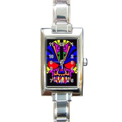 Skull In Colour Rectangular Italian Charm Watch by icarusismartdesigns