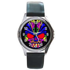 Skull In Colour Round Leather Watch (silver Rim) by icarusismartdesigns