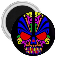 Skull In Colour 3  Button Magnet by icarusismartdesigns