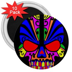 Skull In Colour 3  Button Magnet (10 Pack) by icarusismartdesigns