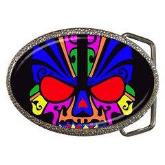 Skull In Colour Belt Buckle (oval) by icarusismartdesigns