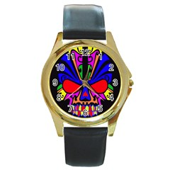 Skull In Colour Round Leather Watch (gold Rim)  by icarusismartdesigns