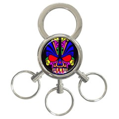 Skull In Colour 3 Ring Key Chain by icarusismartdesigns