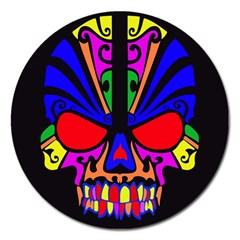 Skull In Colour Magnet 5  (round) by icarusismartdesigns