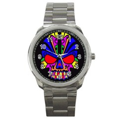 Skull In Colour Sport Metal Watch by icarusismartdesigns