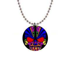 Skull In Colour Button Necklace by icarusismartdesigns