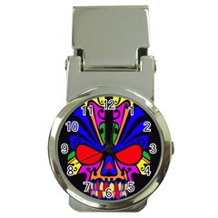 Skull In Colour Money Clip With Watch by icarusismartdesigns