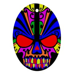 Skull In Colour Oval Ornament (two Sides) by icarusismartdesigns